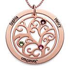 Rosé vergoldete Stammbaumkette mit Geburtssteinen