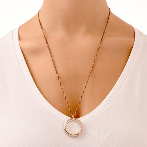 Rose vergoldetes Medaillon mit Krisatllen - 2