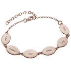 Rosévergoldete Armband für Mütter mit Kindernamen - ovales Design