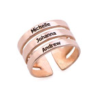 Rosévergoldete Ring mit drei Namen