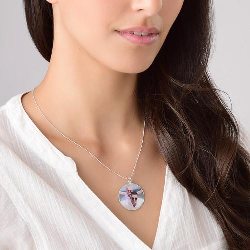 Runde Foto Halskette aus Sterling Silber - 3