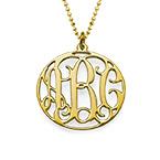 Rundes Monogramm Amulett mit Initialen aus 750er vergoldetem Silber