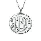 Rundes Monogramm Amulett mit Initialen aus 925er Silber