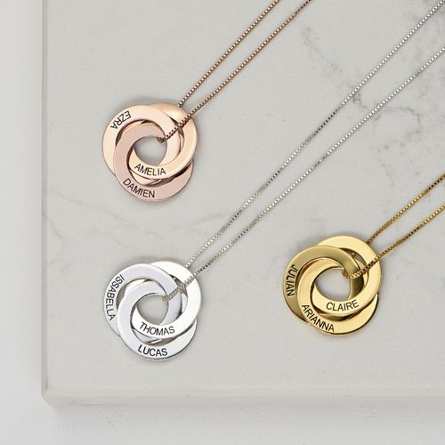 Russische Halskette mit Ring und Gravur - rosévergoldet - 2