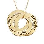 Russische Ring Halskette mit Gravur aus 417er Gold