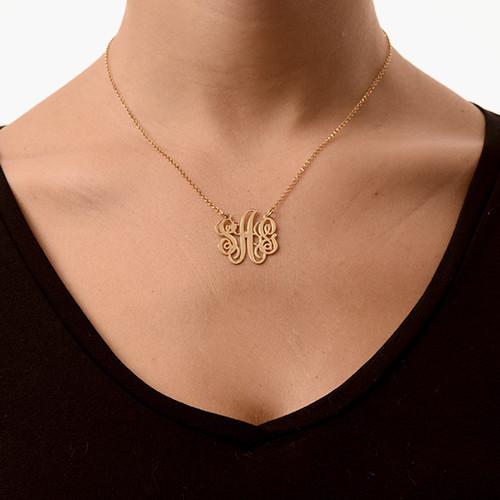 Schicke Monogramm Halskette - Vergoldet - 1