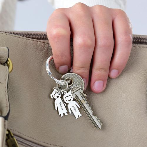 Schlüsselanhänger mit Kinder-Charms und Gravur - 2