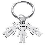 Schlüsselanhänger mit Kinder-Charms und Gravur