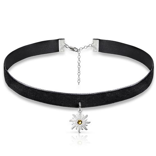 Schwarze Halsband-Kette mit Geburtsstein Sonnen Charm