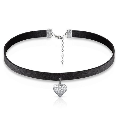 Schwarze Halsband-Kette mit Herz Charm
