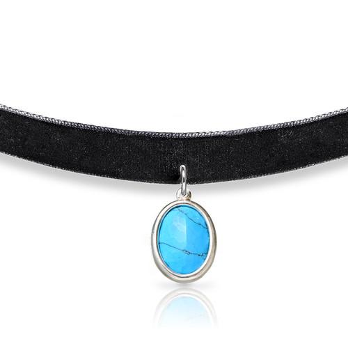 Schwarze Samt Halsband-Kette mit persönlichen Stein - 1