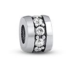 Silber Charm-Perle mit Zirkonia