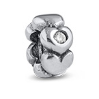 Silberherzen Charm-Perle mit Zirkonia