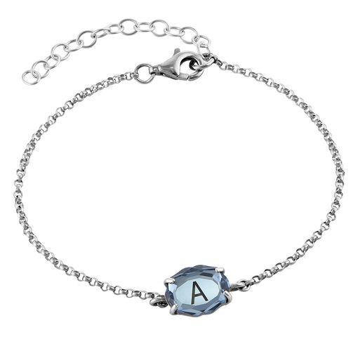 Silbernes Armband mit Gravur und Swarovski-Stein