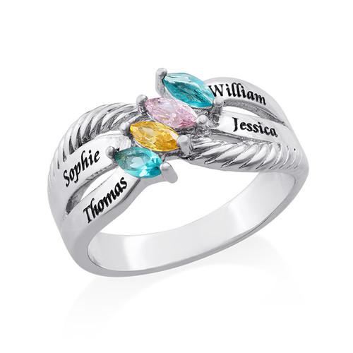 Silberring mit vier Steinchen für Mütter