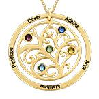 Stammbaumschmuck mit Geburtssteinkette aus 375er Gelbgold