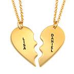 Trennbare 750 vergoldete Silberketten mit Herz