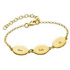 Vergoldete Armband für Mütter mit Kindernamen - ovales Design