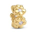 Vergoldete Blümchen Charm-Perle mit Zirkonia