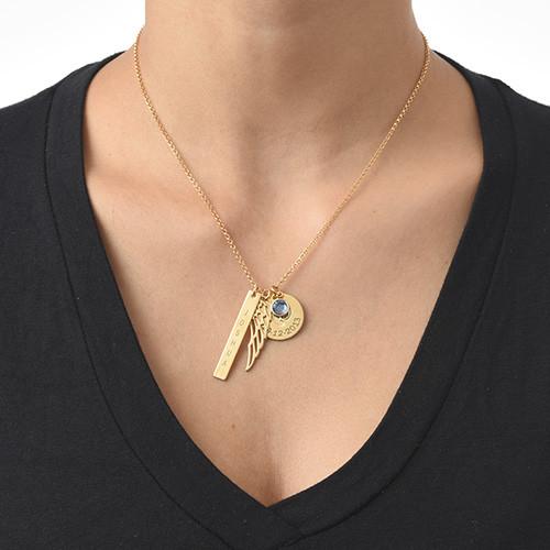 Vergoldete Charm Halskette für Mütter - 1