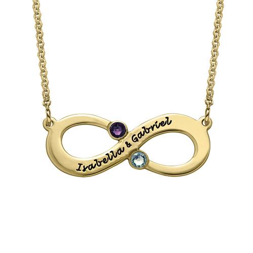 Vergoldete Infinity Halskette mit Geburtssteinen für Pärchen