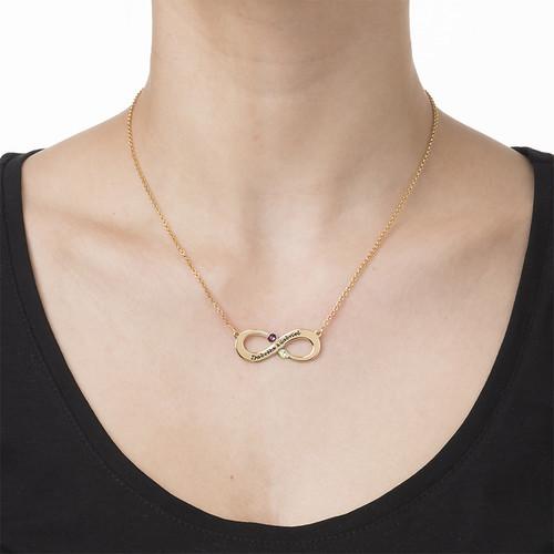Vergoldete Infinity Halskette mit Geburtssteinen für Pärchen - 1