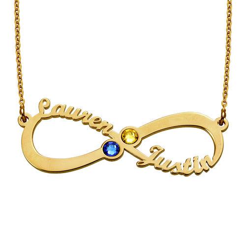 Vergoldete Infinity-Namenskette mit Geburtssteinen