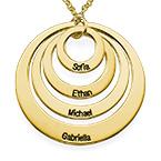 Vergoldete halskette mit vier Ringen und Gravur
