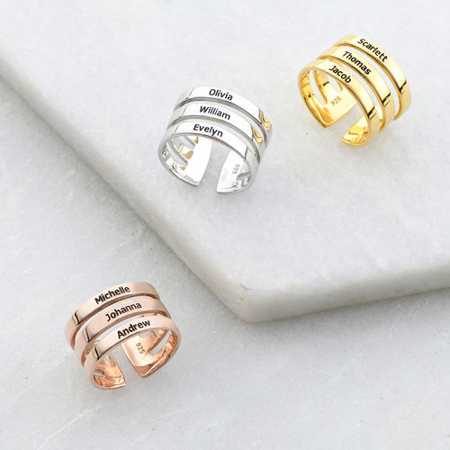 Vergoldeter Ring mit drei Namen - 2