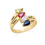 Vergoldeter Ring mit vier Geburtssteinen für Mütter