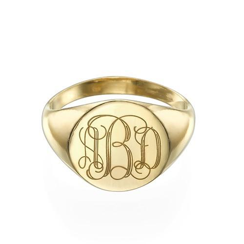 Mens Gold Signet Ring Engraving