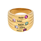 Vergoldeter Silberring mit fünf Steinchen für Mütter