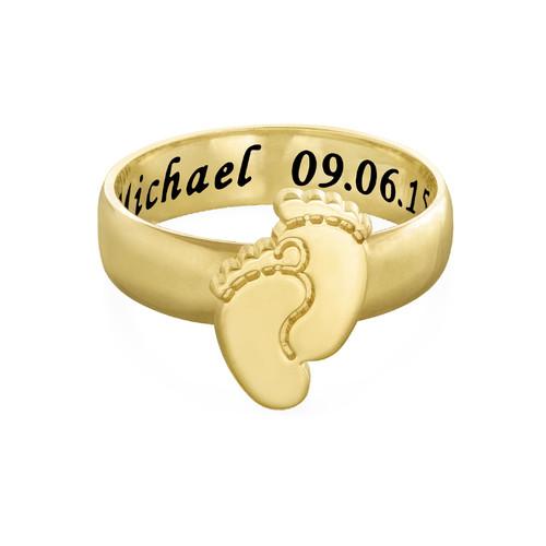 Vergoldeter gravierbarer Babyfüße-Ring - 1