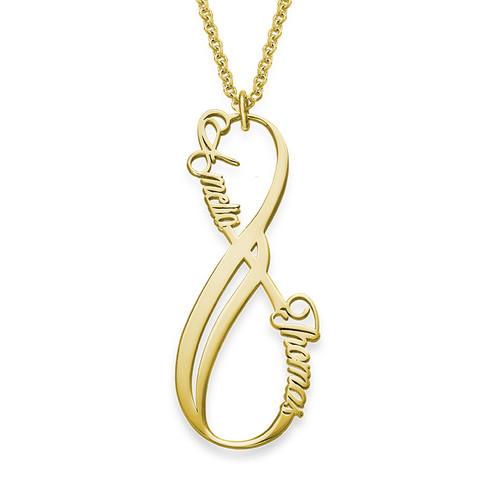 Vertikale Infinity Namenskette aus vergoldetem Silber