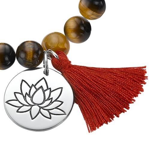 Yogaschmuck – Kugelarmband mit Lotusblüten-Anhänger - 1