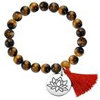 Yogaschmuck – Kugelarmband mit Lotusblüten-Anhänger