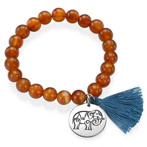Yogaschmuck – Kugelarmband mit gravierbarem Elefantenanhänger