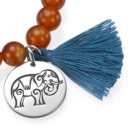 Yogaschmuck – Kugelarmband mit gravierbarem Elefantenanhänger - 1