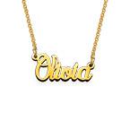 Zierliche Namenskette aus extra starken vergoldeten Silber