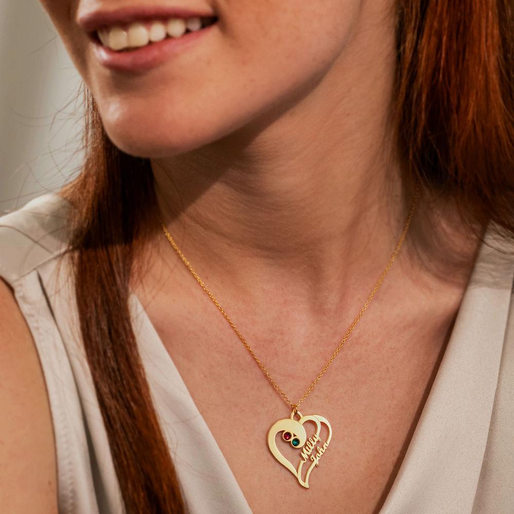 Doppelherz-Halskette -vergoldet - 1