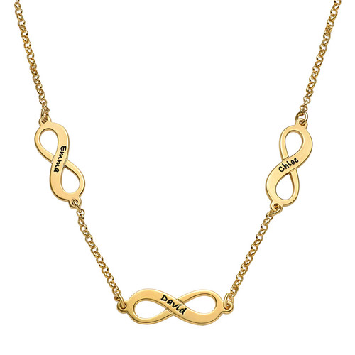 Mehrfach-Infinity-Halskette - 18k vergoldet