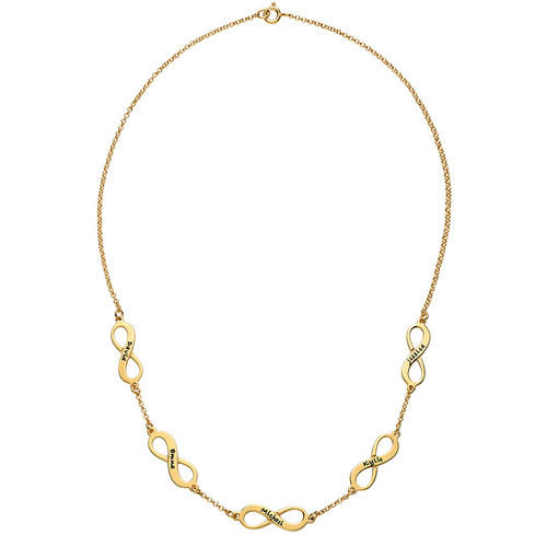 Mehrfach-Infinity-Halskette - 18k vergoldet - 2