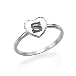 Herzinitialring aus Sterling Silber product photo