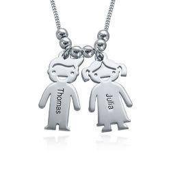 925er Sterling Silber Kette mit Kinderanhängern und Wunschgravur fur product photo