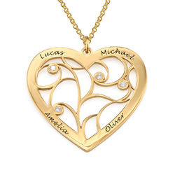 Herz-Lebensbaum-Kette mit Diamanten und Gold-Beschichtung product photo