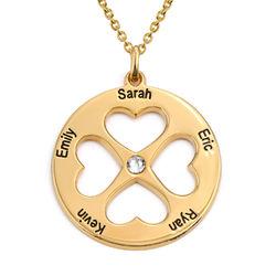 Herzkette für Mutter mit rundem Anhänger eines vierblättrigen product photo