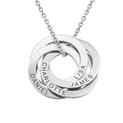 Halskette aus Sterlingsilber mit 4 russischen Ringen und Gravur product photo