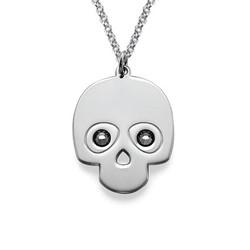 Silber Totenkopfkette mit Kristalle product photo