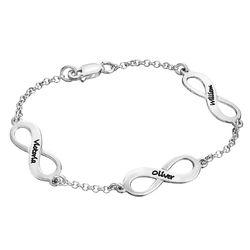 Mehrfach Infinity-Armband mit Gravur aus Silber product photo