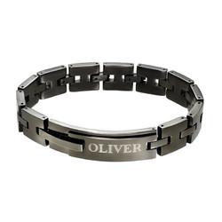 Schwarzes, gravierbares Panzer-Armband für Männer product photo